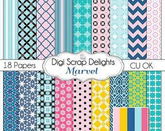 Marvel Digital Scrapbook Paper , Instant Download, Navy, Pink, and Teal. Instant Download