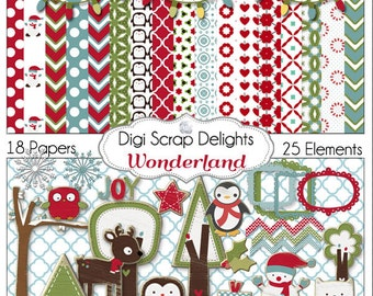 Christmas Clip Art  Digital Scrapbooking Kit Papers Snowman, Penguin, Fox, Reindeer, Cards, TpT, Instant Download