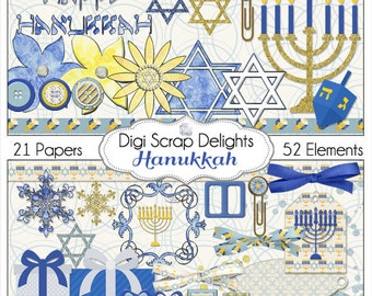 Hanukkah Clip Art Scrapbook Papers Digital Scrapbook Kit in Blue and Gold