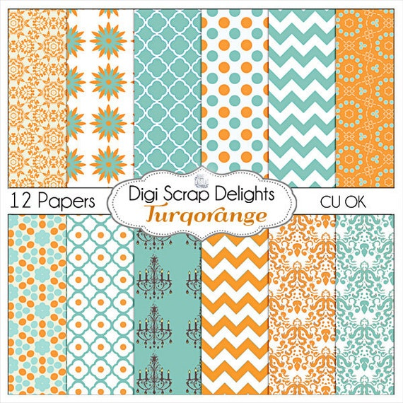 Turquoise Orange Scrapbook Paper- Chevron & Quatrefoil Backgrounds for Scrapbooking, Card Making, Crafts, Instant Download