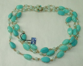 Vintage Coro Multi-Strand Necklace Turquoise Iridescent Beads with Original  Tag