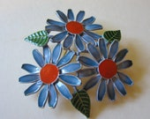 Vintage Capri Enamel Daisy Pin - Retro Brooch in Blue, Red and Green - Womens Jewelry - Womens Accessories