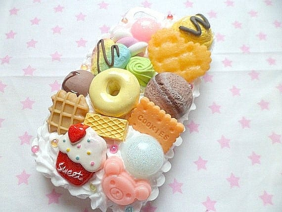 Kawaii Decoden Whipped Cream Rainbow Food Cupcake Biscuit Donut Pastel Rilakkuma Ice Cream iPhone 4/4s Cell Phone Case
