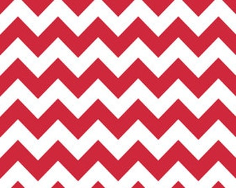 Clearance-Medium Chevron Cotton-Red by Riley Blake- 1 yard