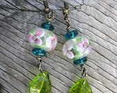 Glass Beaded Earrings - Flower and Leaves - Blue, Pink, Green - Cute spring and summer jewelry
