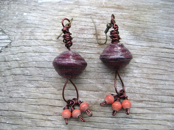 Paper to Pearls Burgundy, Brown, and Orange Earrings for a Cause
