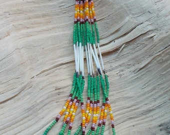 "Native American Inspired design - Desing Glass Sead Beads and Porcupine Quills Dangling Earrings - ""Cactus Flower"""