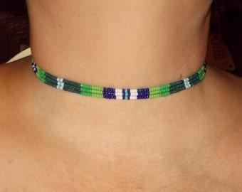 "Native American inspired design - Three strand beaded choker - ""Mountain Stream"""