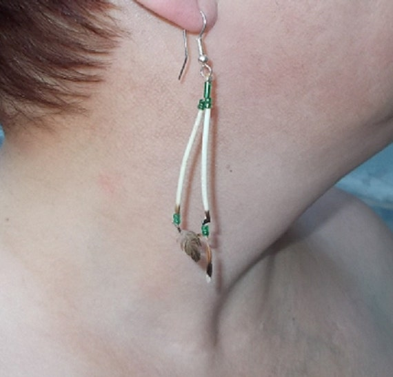 Native American Design - Hummingbird Feather Earrings with Porcupine Quills