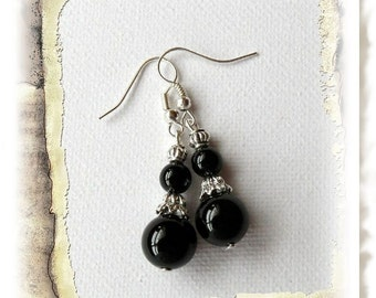 Black Earrings - Jade Dangle Earrings - Elegant Gift for Her - Handmade Fashion Jewellery