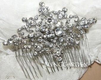 Vintage Style Rhombus Flower Rhinestone Crystals Wedding Hair Comb, Vintage Style Bridal Hair Comb, Bridal Hair Accessory