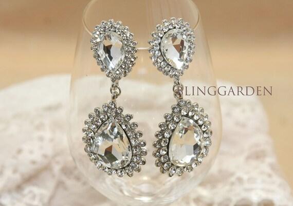 Large Teardrop Pear Rhinestone Crystals Dangle Earrings, Bridal Earrings, Wedding Bridesmaids Stud Earrings Jewelry, Bridesmaids Gift