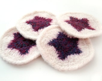 Star Wool Coasters - set of 4 - Variegated Purple and Off-White - felted crochet stars teen college modern fun home decor