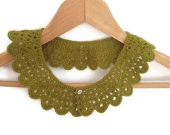 Green crochet collar, peter pan collar, lace collar, mustard, autumn, harvest, collar necklace,Bridesmaid