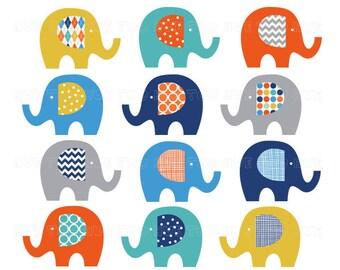 clip art elephants, boy elephant clipart, bright orange teal blue navy gray yellow, cute image for invitations, boy baby shower 033