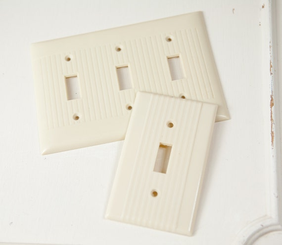 Vintage Art Deco, Ivory Light Switch Covers (set of 2).