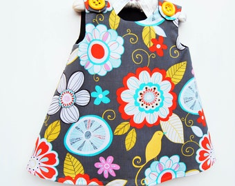 On Sale - Infant Dress - Tweet Birdie Tweet - Gray - Toddler Girls Jumper Dress - Boutique Dress - Top - Fashion for Children - 3M to 4T