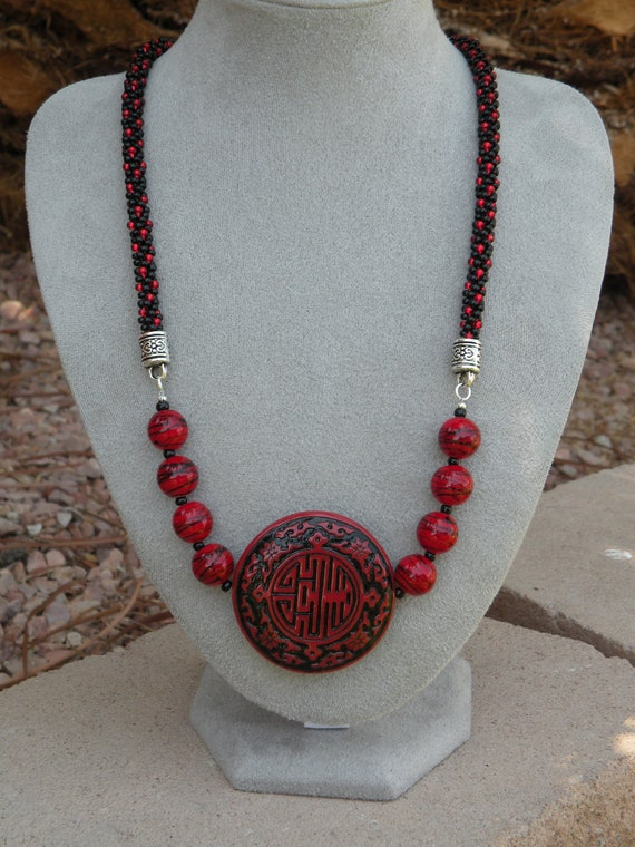 Red & Black Beaded Kumihimo Necklace