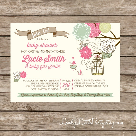 Printable Vintage Birdie Baby Shower Invitation - Lovely Little Party