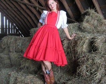 50s Jumper Skirt 1950's square dance dress Swiss Maid Outfit