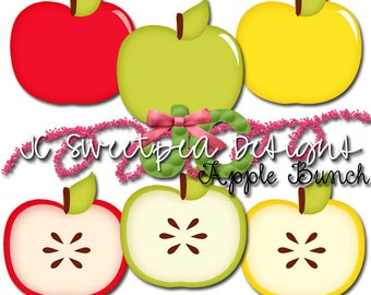 Apple Clip Art for Personal and Commercial Use - INSTANT DOWNLOAD