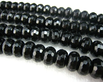 black onyx faceted rondell 14x10mm 15inch strand