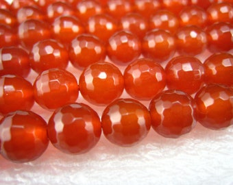 stone bead,carnelian faceted round bead 6mm,15 inch