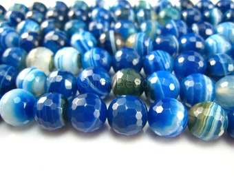 blue  banded agate facted round bead 8mm 15inch strand