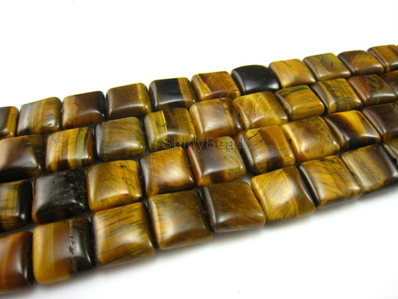 stone bead,Tiger Eye,smooth square 12mm,15.5 inch