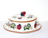 Vintage Handpainted Strawberry Divided Relish Dip Dish with Serving Spoons