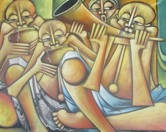 African painting of African family gathered in meal