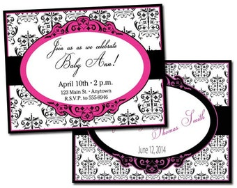 Damask Printable Custom Invitation or Save the Date
