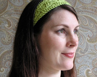Lime Green Knit Lace Headband