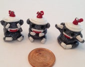 Polymer Clay Charms Sock Monkey See, Hear and Speak No Evil Set of 3