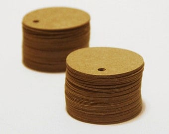 Set of 100, Gift Tags, 48MM, Kraft Circle Tags