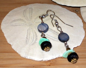 Turquoise, Shell, Bronze, and Wood Earrings