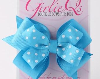 """Turquoise Blue Hair Bow Hair Clip 5"""" x 4"""" Polka Dot"""