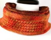 Harvest OOAK Crochet Cowl Neckwarmer in MultiColor Red-Orange Amber Yellow Pumpkin Super Soft Delicate Luxury Merino Wool Unisex