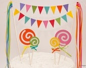 Sweet Treat : Colorful Candy Lollipop Cake Topper with Lacy Buntings and Ribbon Accents - Red Pink Orange Yellow Green Blue Purple