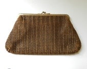 60's WOVEN BROWN CLUTCH - Hippie / Boho / Coin Purse / Makeup Bag / Travel / Summer