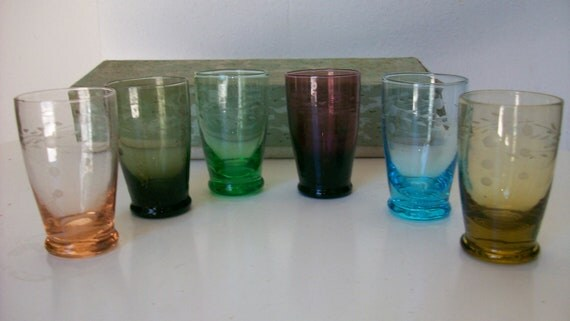 Vintage MId Century Kitsch  Korean etched shot glasses in rainbow of colors NEW