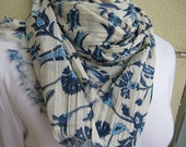 Women's SCARVES-navy blue brown Ottoman tile floral print scarf -clothing-scarf-pareo Lightweight natural cotton crinkle fabric long scarf