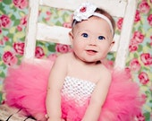 Pink Tutu Newborn Photography Prop Toddler tutu with matching Satin Rhinestone Rosette on non fold elastic Newborn Photo Prop