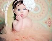 Baby Tutu, Baby Headband, Infant Tutu Set, Tutu Skirt -Peach Tutu Set with Large White Lace and Fabric Flower Photography Prop newborn-3T