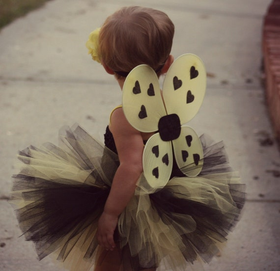 Bumble Bee Couture Halloween Costume Black and Yellow tutu with Matching Headband and Wings Newborn-2T