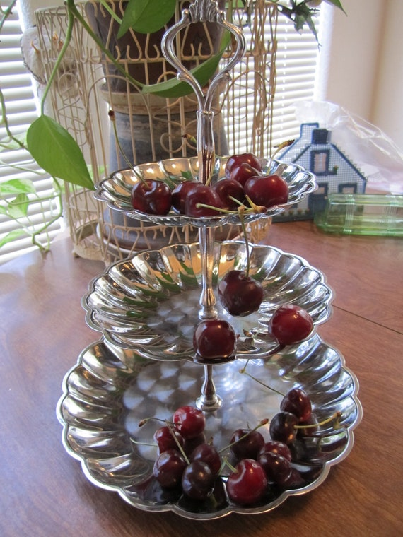 SALE SAVE 4.00....Chrome Plate, 3 tier food dish, for all your family get togethers, or special occasion.