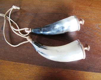 2 Ceremonial Horn Rattles, Shaman, Native, Natural, Leather Straps