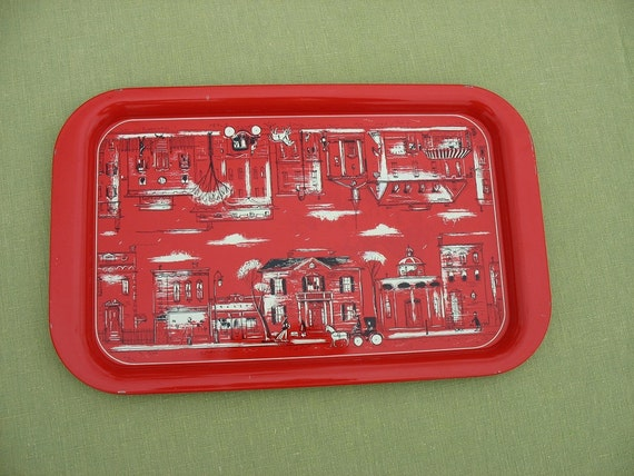 Vintage Red Serving Tray Red and White City Scene Metal Tray
