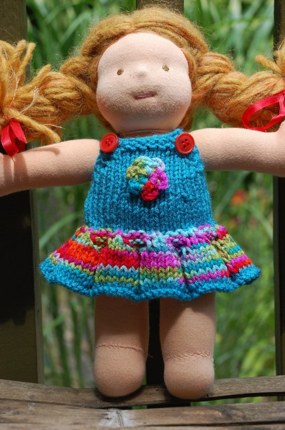 "10"" Bamboletta Waldorf Doll Sweater dress / overalls / skirtall (turquoise)"