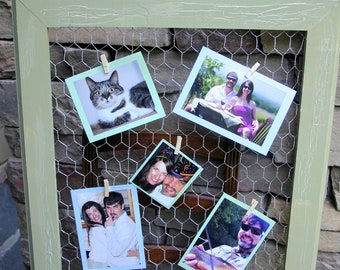 "22x26"" Sage green Vintage style bulletin board made with chicken wire"